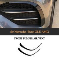 For Mercedes Benz GLE Class Sport 2020 Car Front Bumper Fins Splitters Canards ABS Carbon Fiber Look / Black