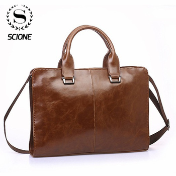 Scione Classic Men's Briefcases Leather Business Office Computer Laptop Bags austere Vintage Shoulder Crossbody Bags For ipad image