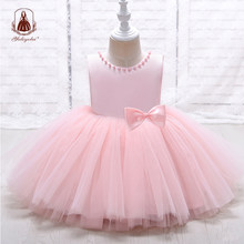Yoliyolei Hand Made Pearls Girls Dresses Lovely Back Bow Children's Gowns 2-8 Years Baby Kids Flower Girl Princess Casual Wear