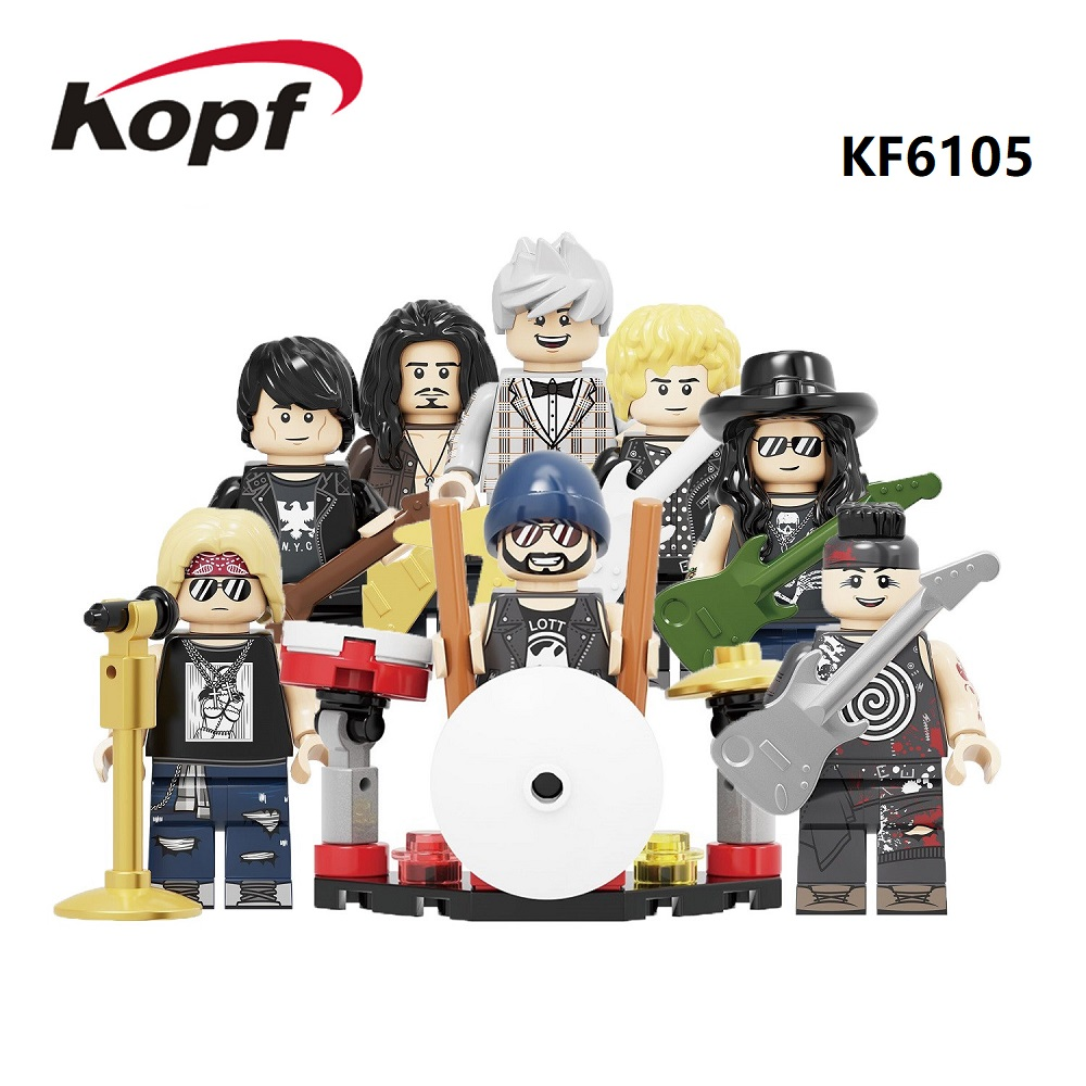 Rock Band Building Blocks Guns N' Roses Axl Rose Slash DJ Ashba Ron Tommy Stinson Frank Ferrer Figures For Children Toys KF6105