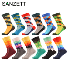 Men Socks Wedding-Dress Happy SANZETTI Novelty Gift Bright Crew 12-Pairs Geometric Hot-Sale