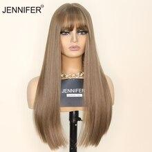 Синтетические парики для женщин с челкой, длинные прямые, из коричневого/льняного волокна, для косплея, вечерние, повседневные, высокотемпе...
