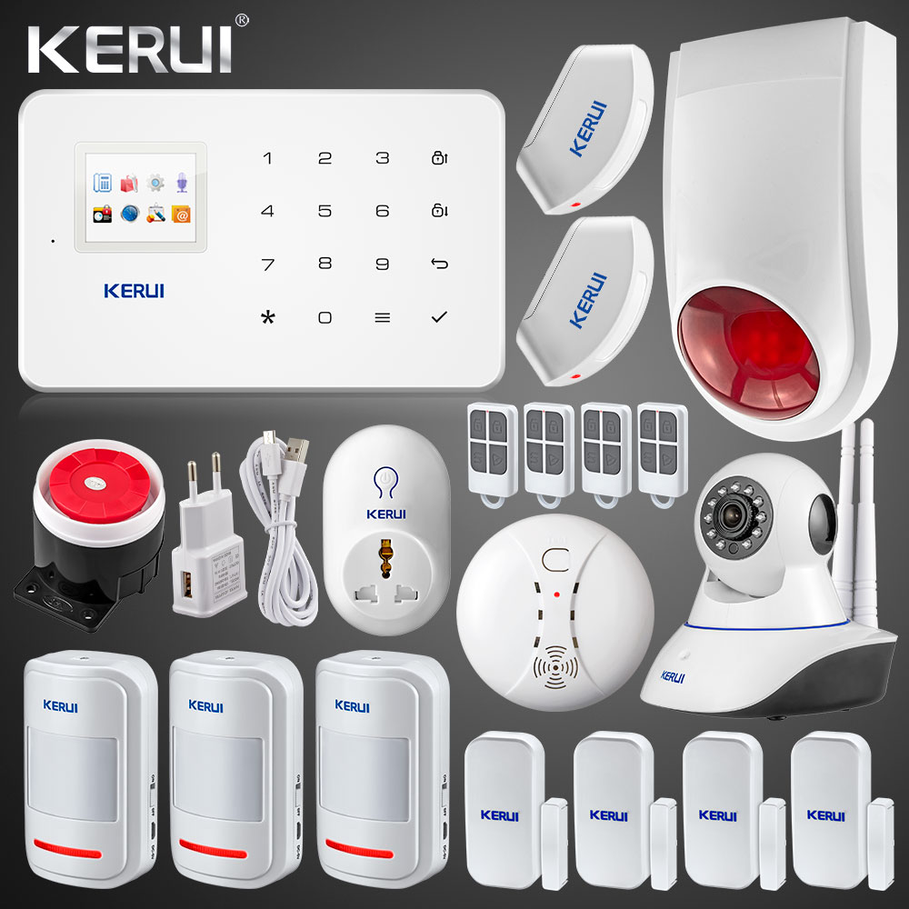Kerui Wireless GSM Home Security Alarm System ISO Android APP TFT Touch Panel Security Alarm System Wifi IP Camera Smoke Sensor