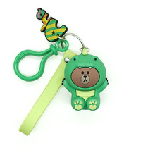 High Quality 2019 New Cartoon Brown Bear Key Chain Cute Dinosaur Frog Pig Doll Keyrings Kids Toy for Women