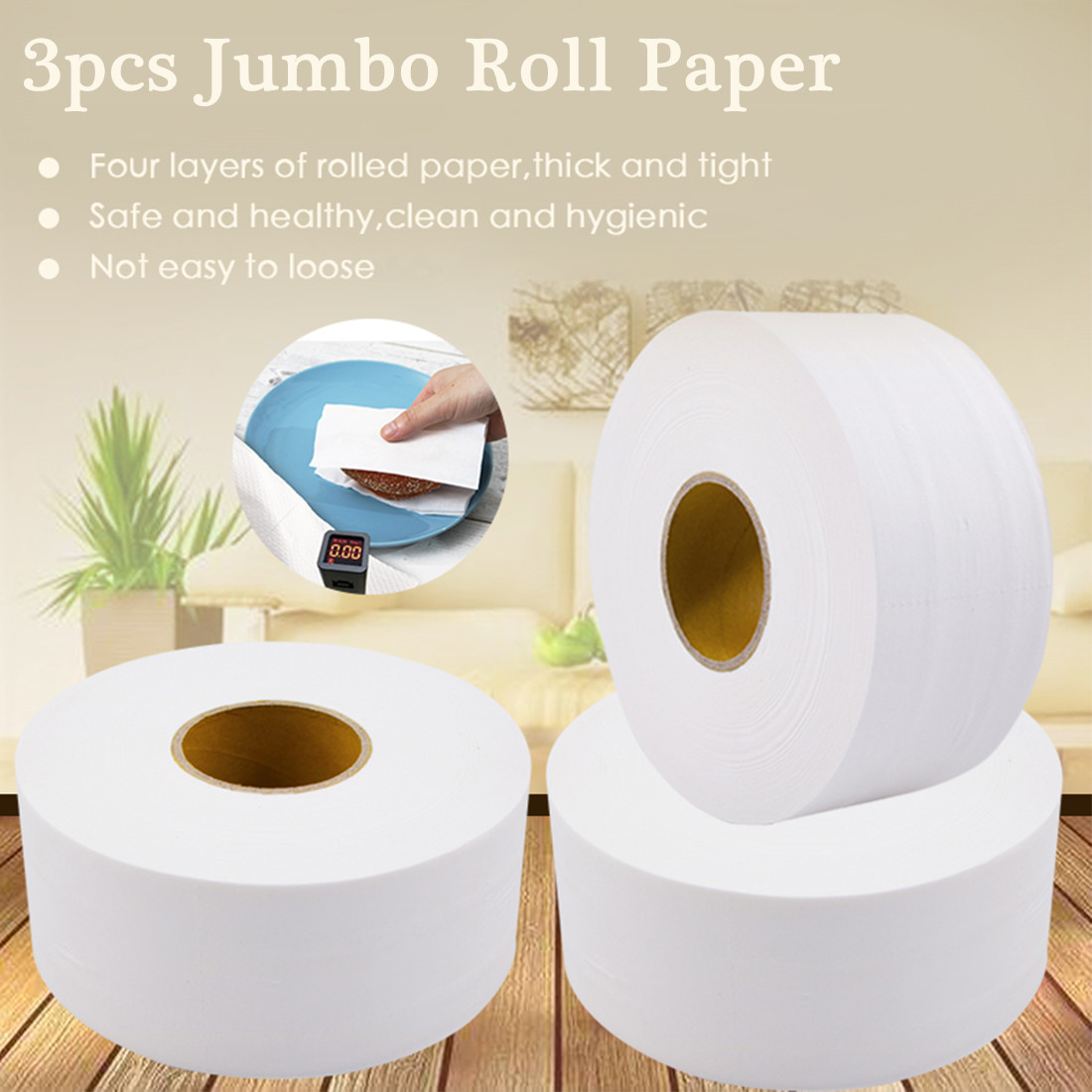 3 Roll 4-layers White Toilet Paper Jumbo Roll Towels Soft Tissue Roll Paper For Public Hotel Virgin Wood Pulp Adjunct Non-Smell