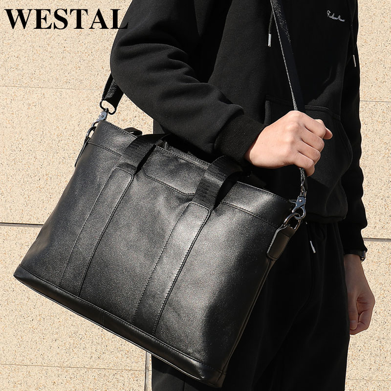 WESTAL Office Bags For Men Briefcases Genuine Leather Messenger Bag Men Leather Laptop Bags Lawyer/Computer Bag Male Briefcases