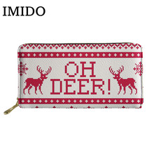 IMIDO 2019 Christmas Deer Cartoon Women PU Long Wallets for Girls Students Fashion Red Leather Coin Purse Cash Bag The Best Gift deer detail pu bag