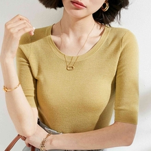 Wool Sweater 100%Cashmere Pullover Basic-Jumper Soft-Shirt Spring Women for Female Girl