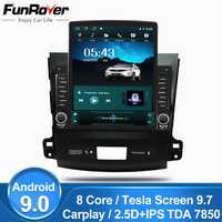 Funrover 9,7 Tesla pantalla Android 9,0 coche multimedia Player radio gps navi para Mitsubishi Outlander xl 2 2005-2011 rds BT nodvd
