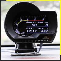 LUFI XF English Version OBD2 digital turbo boost oil pressure temperature gauge for car Afr RPM Fuel level Speed EXT Oil Meter