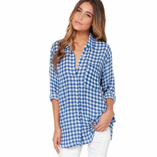 2019 autumn women fashion simple blue checked shirt lapel long sleeve tops leisure casual blouses female office lady  femme