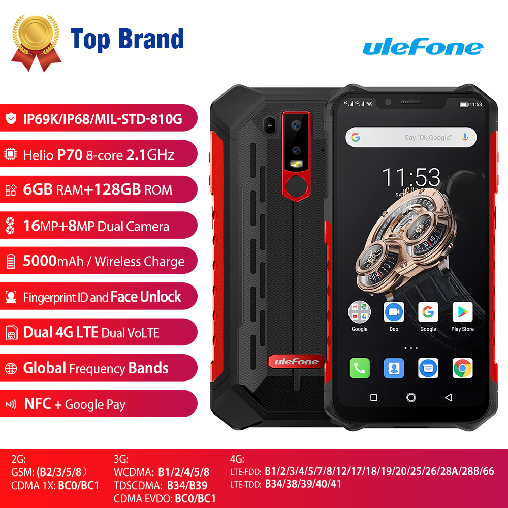 Ulefone Armor 6S NFC 6GB 128GB IP68 shockproof Mobile Phone Helio P70 Otca-core Android 9.0 wireless charge 4G Rugged Smartphone