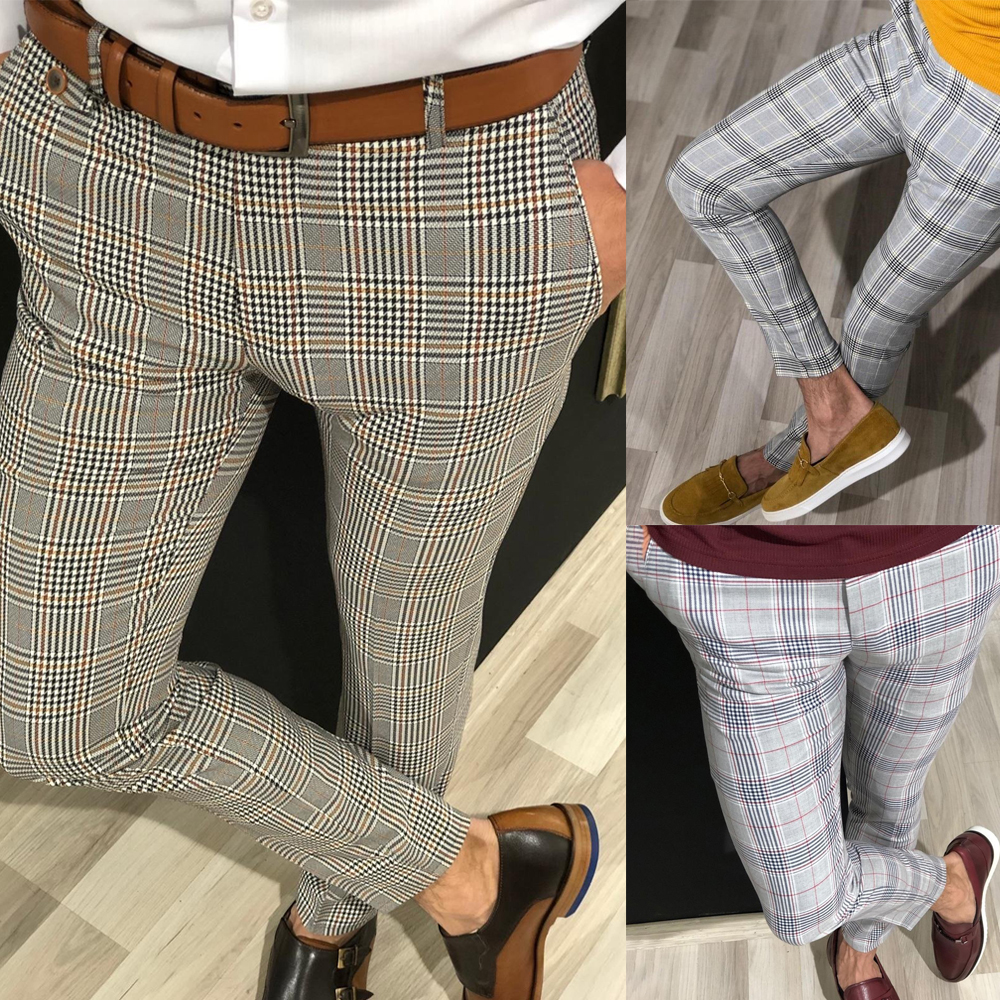 Mens Slim Fit Trousers Check Casual Pants Joggers Tartan Jogging Skinny Bottoms Men Male Casual Trousers