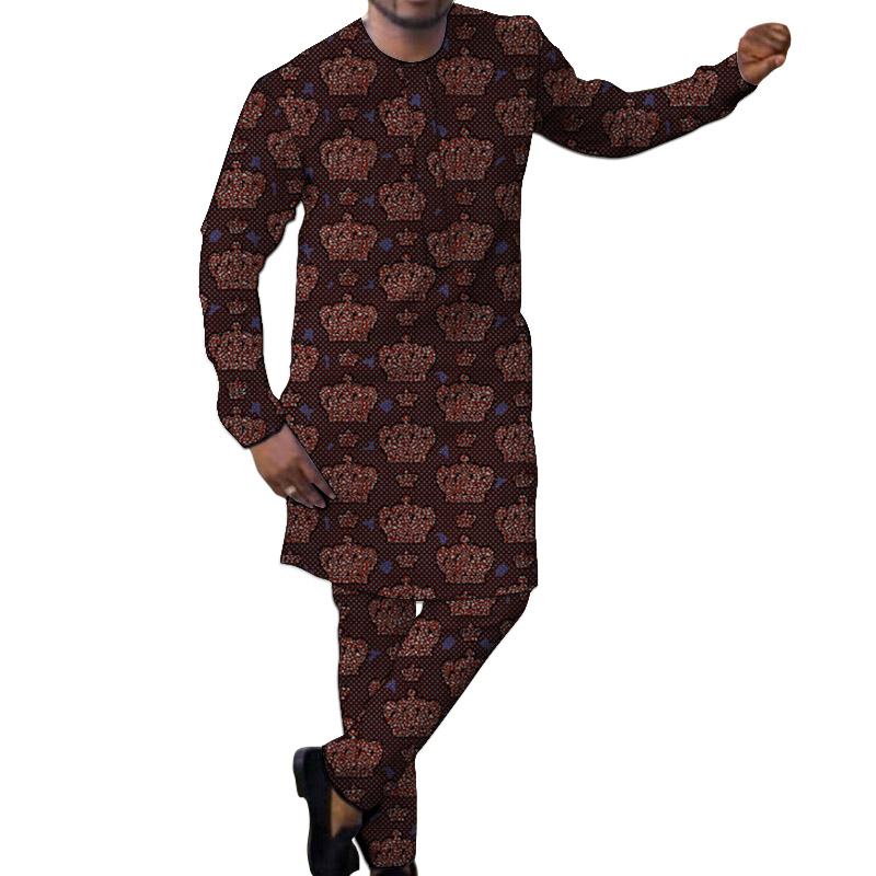 Fashion Print Long Shirts With Trousers Custom Made Pant Sets Male Groom Suits African Party Dashiki Clothes