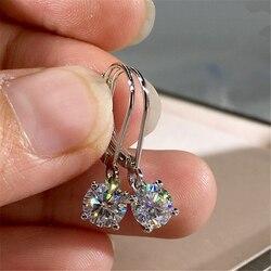 S925 Sterling Silver Pure Crystal Earring Women Natural Bizuteria Kolczyki Silver 925 Jewelry garnet Gemstone Earring Orecchini