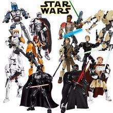 Star wars stormtrooper darth vader kylo ren chewbacca boba jango fett starwars brinquedos modelo figuras blocos de construção tijolos crianças