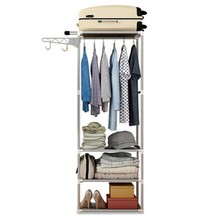 Assembly Floor Shelf for Clothes Coat Rack Hanger Standing Metal Non-Woven Fabric Wardrobe for Clothing Storage Shelves(China)