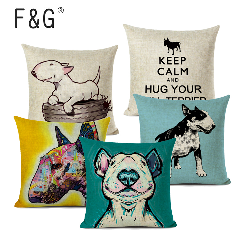 Bull Terrier Cushion Cover Cute Dog Printed Linen Pillows Cover Car Sofa Decorative Pillowcase Home Decor Case 45x45cm
