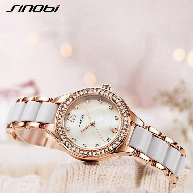 Sinobi Fashion Diamond Ceramic Watchbrand Woman Watches Quartz Wristwatches Top Luxury Brand Dress Ladies Geneva Clock reloj 19