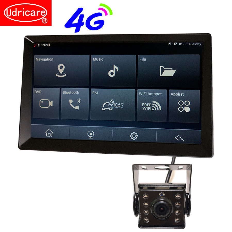 Udricare 10 pouces 4G carte SIM réseau Android 8.1 WiFi Bluetooth téléphone voiture camion Bus GPS Navigation Full HD 1080P double lentille DVR