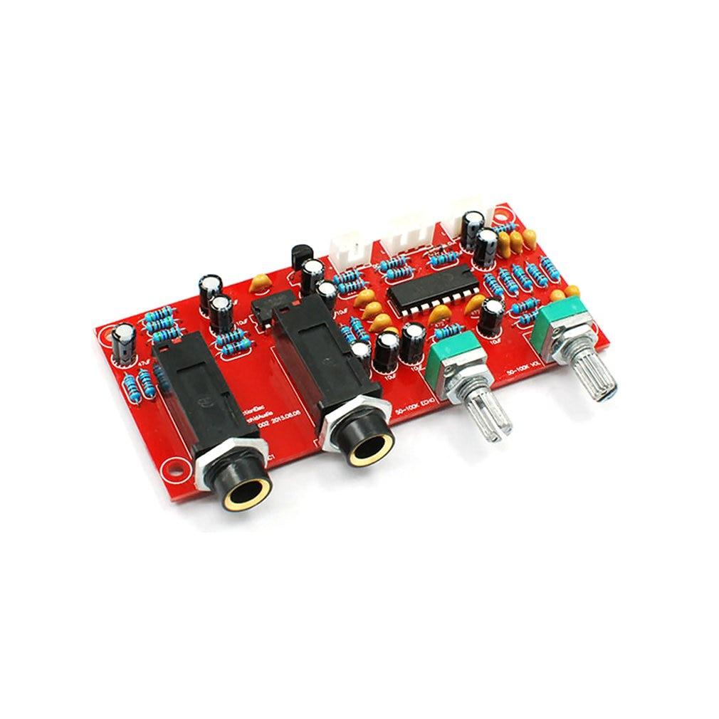 PT2399 Digital Microphone Amplifier Board Karaoke Plate Reverb Preamplifier Reverberator Suite Components NE5532 DC 12V 24V|Microphone Accessories| |  - title=