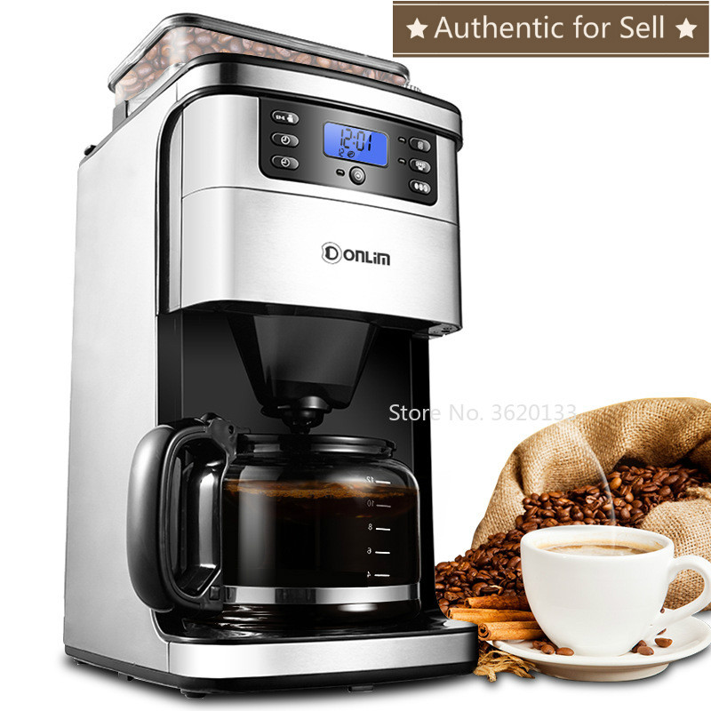 Authentic Stainless Steel Automatic Drip Coffee Machine 1.5L 900W American Coffee Maker Coffee Bean& Powder Dual Use/Auto Off
