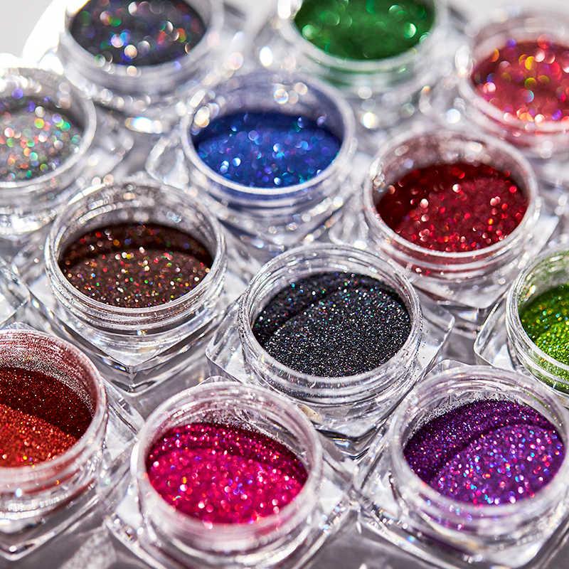 1G Glitter untuk Kuku Hologram DIP Bubuk Cermin Polishing Chrome Pigmen Kuku Seni Dekorasi Laser Mempesona Debu