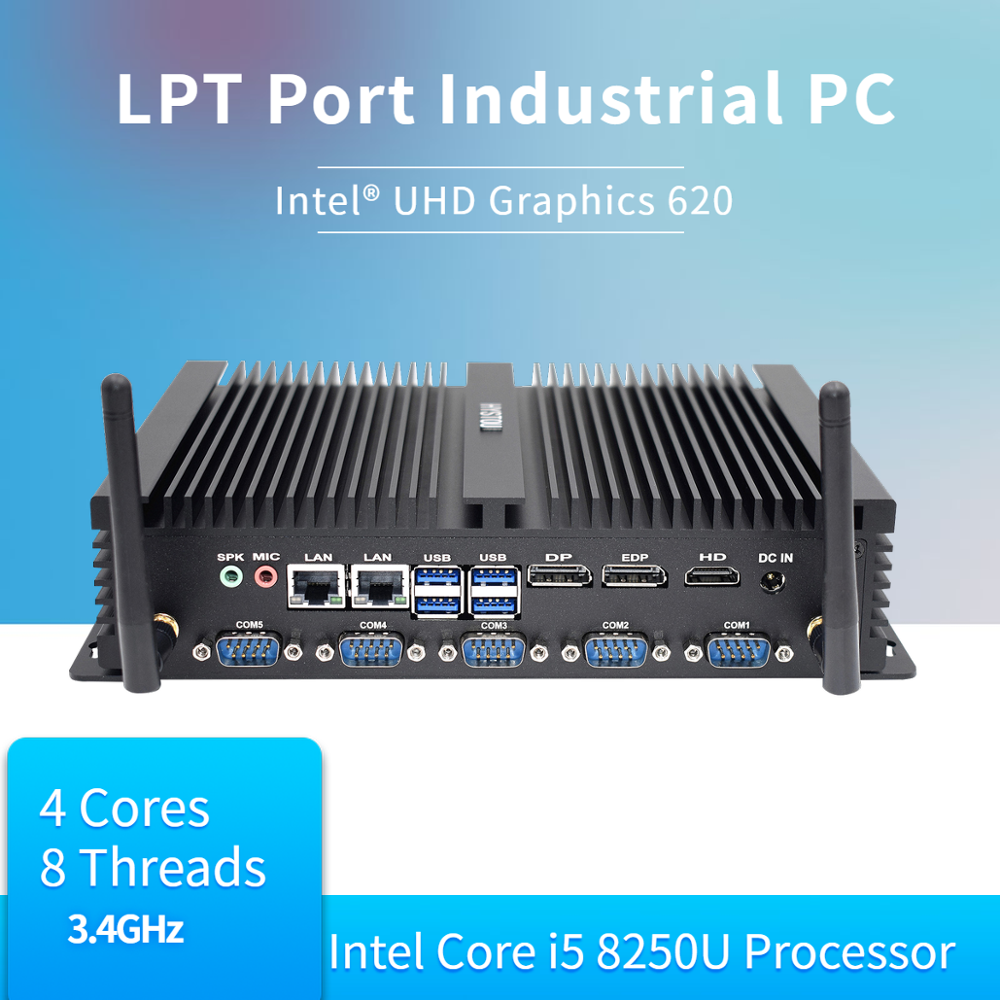 Hystou Mini PC 8th Intel Core Industrial Fanless i5 8250U i7 8550U Windows 10 DDR4 HDMI DP 4K RS232 HTPC NUC Dual Lan m2 WIFI image