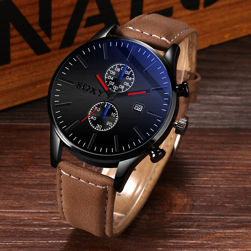 SOXY Men Watch 2019 Auto Date Business Sport Watches For Men Top Brand Luxury Leather Reloj Hombre Casual Relogio Masculino