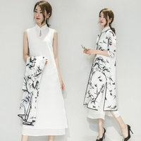 Women Linen Chiffon Mandarin Collar Dress and Cardigan Set Chinese Traditional Costume Gown Vintage Cheongsam Qipao 903 804