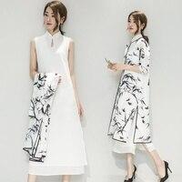 Women Linen Chiffon Mandarin Collar Dress and Cardigan Set Chinese Traditional Costume Gown Vintage Cheongsam Qipao 903 804