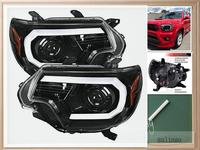 Sulinso For Toyota 12 15 Tacoma Pearl Black LED DRL Projector Headlights Head Lamps Pair