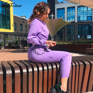 Image 3 - Hugcitar 2019 buckle belt long sleeve jumpsuit autumn winter women streetwear cargo pants overalls  body festival streetwear