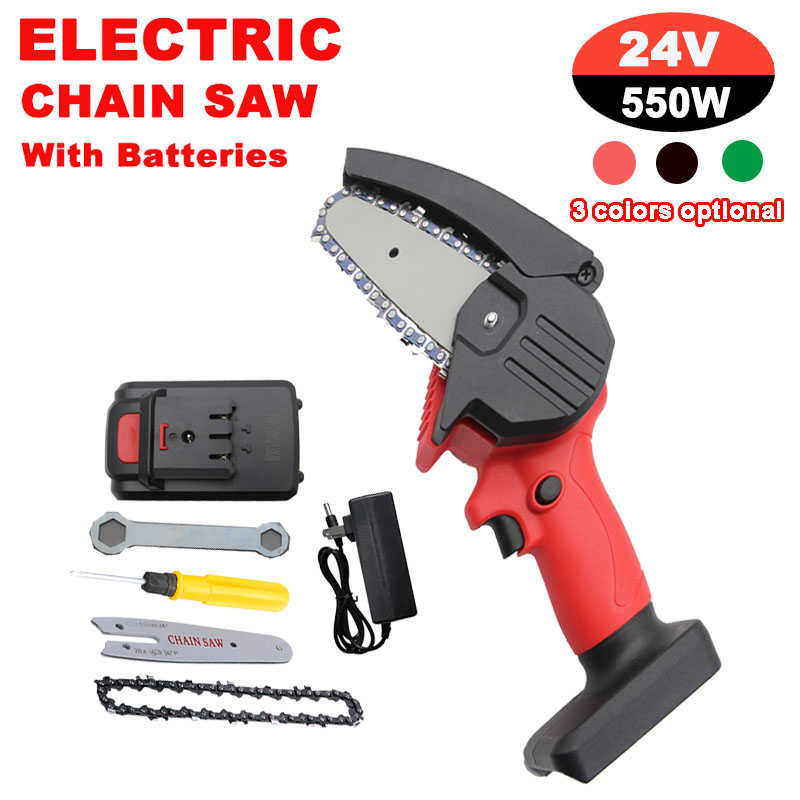 550W Cordless Electric Chainsaw Handheld Wood Logging Saw Rechargeable Chain Saw Rotary Tools For Cutting Woodworking Tools