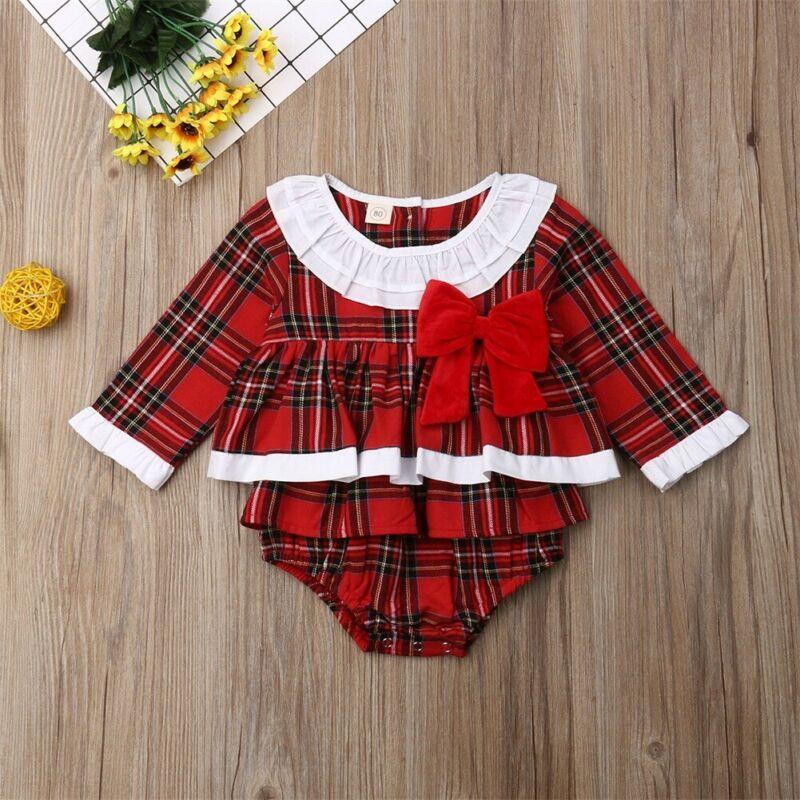 Newborn Kids Baby Girl Bow Plaid Clothes Jumpsuit Romper Bodysuit Sunsuit Outfit
