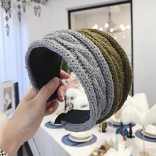 Широкий обруч для волос с шерстяным плетением женщин ободок