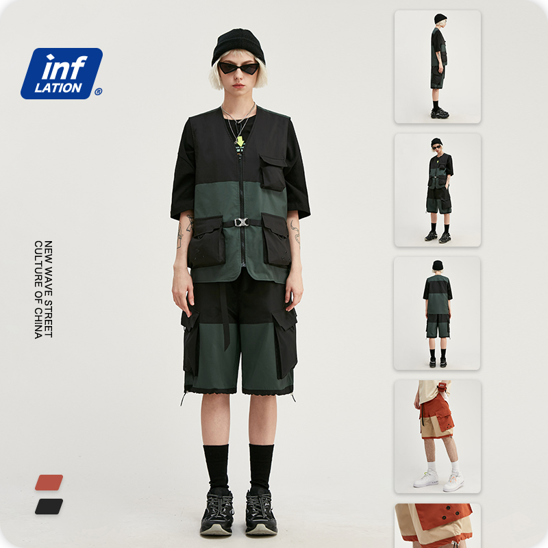 INFLATION Men Suit Streetwear Jersey Utility Gilet In Block Color & Loose Fit Style Men Shorter Shorts With Elastic Waist