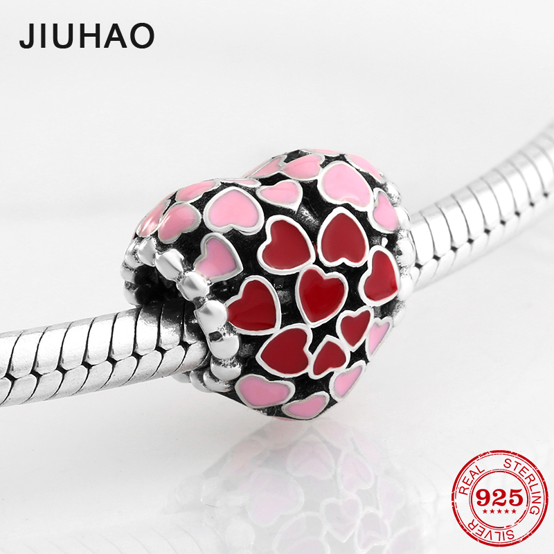 925 Sterling Silver Red Pink Heart Enamel Beads Womens Accessories Fit Original Pandora Charms Bracelet Jewelry Making 2018