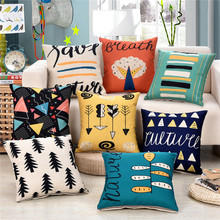45x45cm Abstract Art Printed Cushion Cover Cotton Linen Car Seat Waist Sofa Home Bedroom Throw Pillowcase 45x45cm classic pillowcase home flower national style printed cushion cover linen sofa seat bedroom decorative cushions