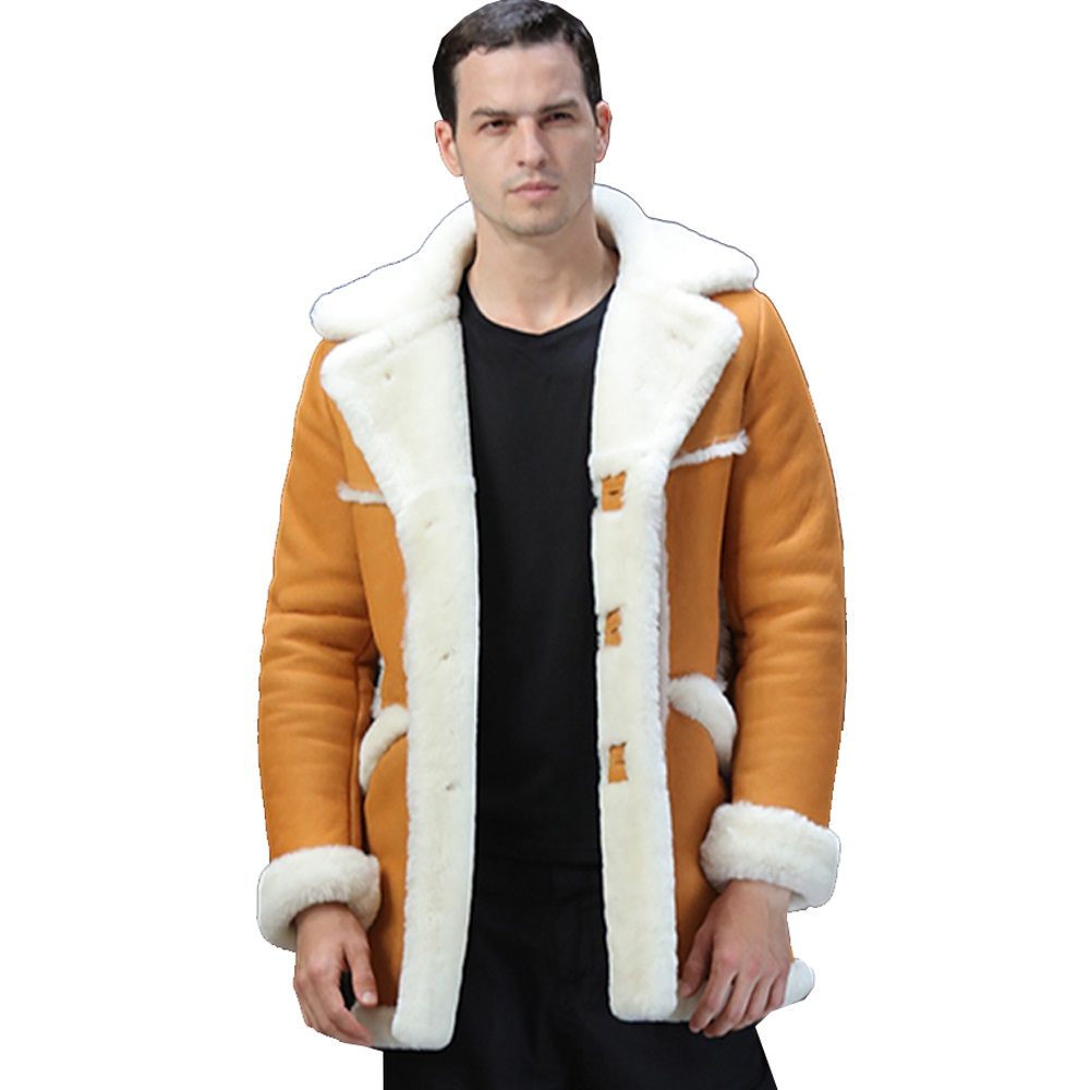 Men Luxury Fur Shearling Coat Yellow Soft Thicken Fur Coat Winter Male Formal Business Fur Sheepskin Jackets