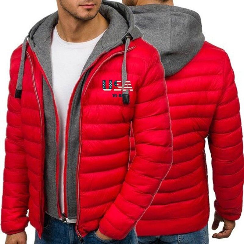 ZOGAA Man Winter 3D USA Flag Printed Jacket Coats Casual Thick Men Hooded Coats Streetwear Winter Coat Men Clothes Winter Parkas