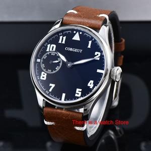 Image 2 - Corgeut 44mm Horloge Mannen 17 Juwelen Hand Kronkelende 6497 Beweging Lichtgevende Waterdichte Mechanische Horloges Lederen Band