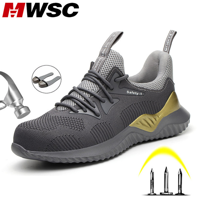 MWSC Men Safety Work Shoes Anti smashing Steel Toe Cap Work Boots Shoes Indestructible Construction Boots Male Safety Sneakers