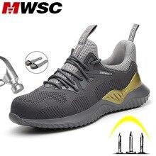 MWSC erkek güvenlik iş ayakkabısı Anti smashing çelik burun iş çizmeleri ayakkabı yıkılmaz inşaat botları erkek güvenlik Sneakers