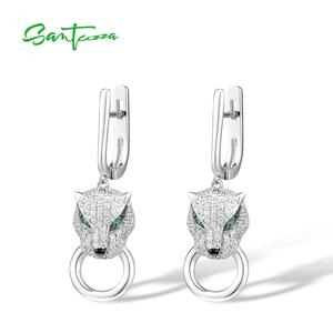 Image 2 - Boucles doreilles en argent SANTUZZA pour femmes pur 925 en argent Sterling boucles doreilles panthère longue zircon cubique brincos bijoux fins