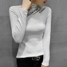 #5667 preto branco verde gola alta t camisa feminina letras imprimir topo feminino harajuku algodão streetwear camiseta fino estilo coreano