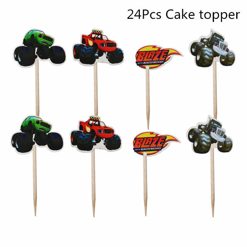 24Pcs Blaze Monster Machines Cake Toppers Verjaardag Kids Party Cake Decorations Jongen Baby Shower Kinderen Dag Feestartikelen
