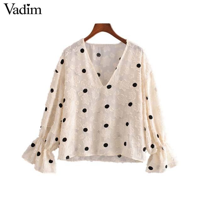Vadim feminino doce polka dot blusa v pescoço alargamento manga ver através camisas feminino bonito casual à moda topos blusas lb612