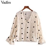 Vadim kadınlar tatlı polka dot bluz V boyun flare kollu see through gömlek kadın sevimli rahat şık üstleri blusas LB612
