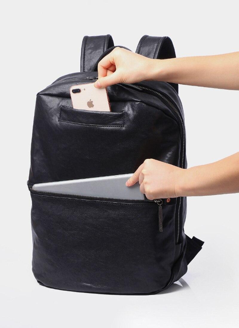 mochila, viagem de negócios grande capacidade manual de couro mochila